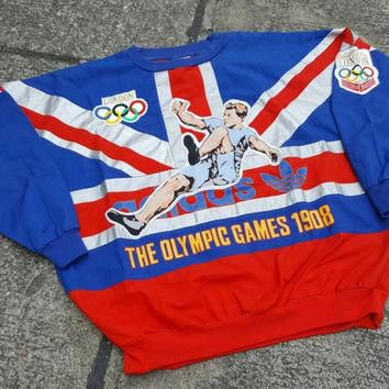 Vintage ADIDAS London 1908 Olympic Games Sweater Sweatshirt Hoodie T Shirt 90s RARE