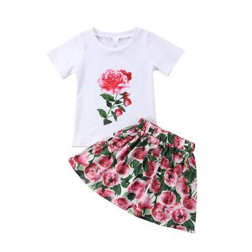 Kids Baby Girl T-shirt Tops+Floral Print Mini-Skirt Outfit Summer Toddler Kids Short Sleeve Clothes Set