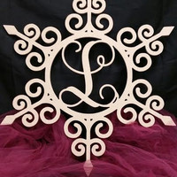 Wooden Monogram Swirly Snowflake Wall Hanger
