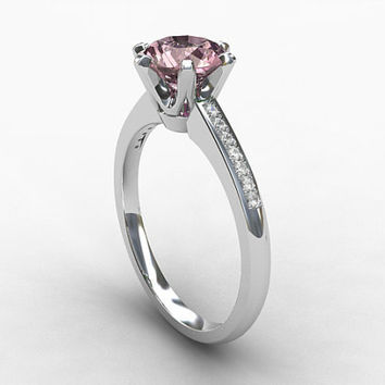Pink tourmaline ring, diamond, White gold, Engagement ring, solitaire, Pink engagement, light pink gemstone, morganite alternative