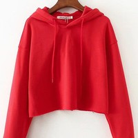 Long Sleeve Drawstring Raw Hem Crop Hoodie