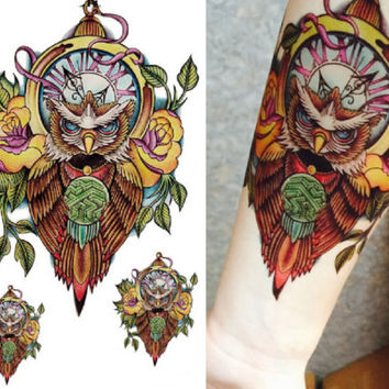 Tattoo Flash, Temporary Tattoo, Sleeve, Arm, Owl, Floral ,Flower, Fake, Colorful, Watercolor, Large, Small, Art, Design, Bird, Clock,