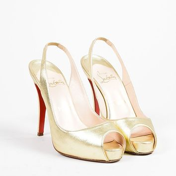 PEAP Christian Louboutin Gold Leather Slingback Peep Toe   No Prive   Pumps