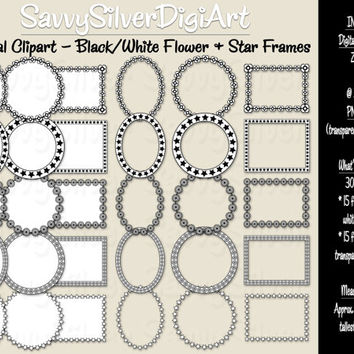 40% OFF SALE -Black & White Digital Frames - Instant Download, Flower and Star Frame Digital Clipart, Circle Rectangle Label Frame Borders