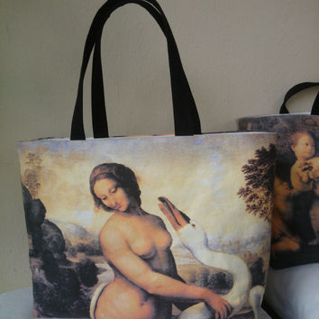 "Tote bag canvas, beautiful copy from ""Leda and the swan"", Leonardo da Vinci, hand made in France"