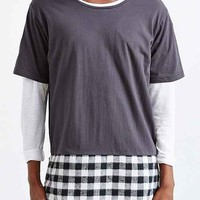 Kill City Plaid Hem Crew-Neck Shirt-