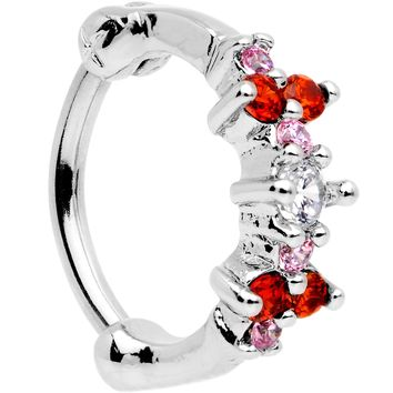 "16 Gauge 5/16"" Red Gem Cluster Hinged Cartilage Clicker"