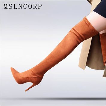 Plus Size New Spring and Autumn high heeled women Sexy Stretch Over Over the knee boots sexy Thin Heels Pumps woman Shoes