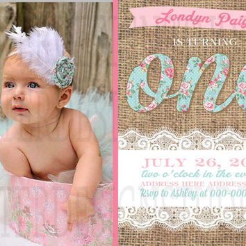 Shabby Chic Floral Burlap Lace Birthday Invitation - Digital File