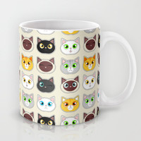 Cute Cat Expressions Pattern Mug by Cute to Boot | Society6
