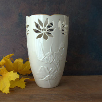 Lenox Westbury Pierced Porcelain Ivory and Gold Embosssed Floral Vase