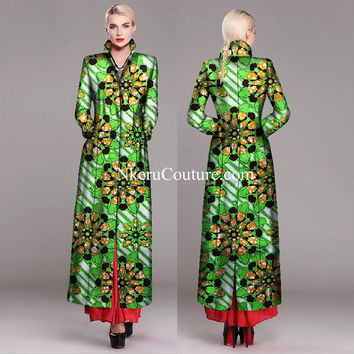 African Style Lady Long Coat Autumn Winter Long Slim Vintage Single-breasted Full lining plus size Jacket Coat DH8890