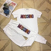 MOSCHINO Fashion Casual Multicolor Pattern Letter Print Short Sleeve Set Two-Piece Sportswear