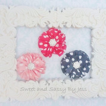 Black Red and Peach polka dot hairclips with rhinestone centers, Ballet recital, newborn photo, photo prop, Baby girl gift, kids accessories
