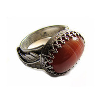 Sterling Silver and Red Sardonyx Ring