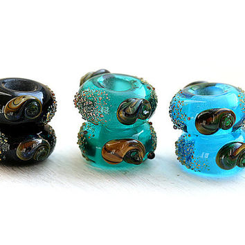 Large hole beads CHOOSE your COLOR - Black, Blue, Teal - European charms, Bracelet beads, Handmade lampwork by MayaHoney