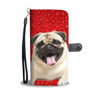 Pug On Red Print Wallet Case- Free Shipping