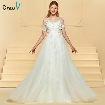 Dressv Ivory Long Wedding Dress A Line Short Sleeves Tulle Court Train Button Appliques Beading Elegant Custom Wedding Dress