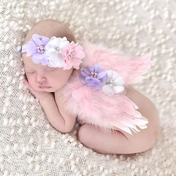 Cute Newborn Kids Baby Pink Feather Angel Wings & Lace Halo Photography Props
