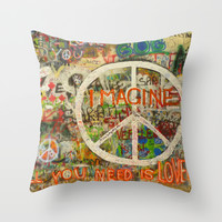 Beatles - All You Need is Love - Peace Sign - Imagine - John Lennon Throw Pillow by Tara Holland