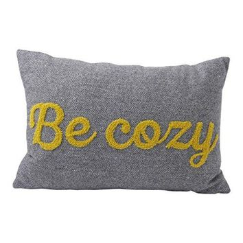 """Hallmark Home Decorative Throw Pillow with Insert (18x12) Gray Tweed Bolster with Gold Applique """"Be Cozy"""""""