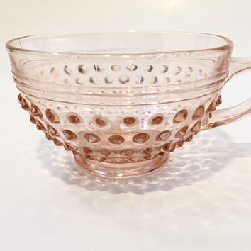 Pink Hobnail Glass Teacups, Pair of Pink Depression Glass Teacups, Anchor Hocking