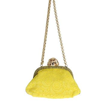 Dolce & Gabbana Miss Dea Bag Yellow Lace Snakeakin Crystal Clutch