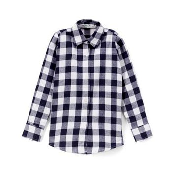 Girls Long Sleeve super soft and comfy flannel button up shirt, Navy