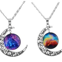 Filigree Crescent Moon BFF Best Friends 2 PC Chain Charm Necklace SET