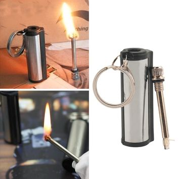 2016 New Stainless Steel Permanent Survival Camping Emergency Fire Starter Flint Match Lighter With KeyChain Free Shipping