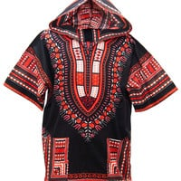 African Dashiki Hoodie - Black & Red Orange