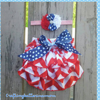 4th of July Bloomer Headband Set - Baby Girl 4th of July Outfit - Photo Prop - Diaper Cover - Headband - Chevron - Red White Blue - Ruffle