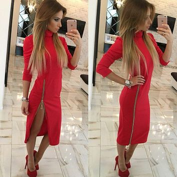 Fashion Zip Solid Color Bodycon Turtleneck Long Sleeve Maxi Dress