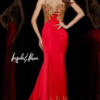 This stunning satin sheath gown is accented with intricately woven gold thread. Shown in Hot Red, also available in Royal Blue. #girligirl