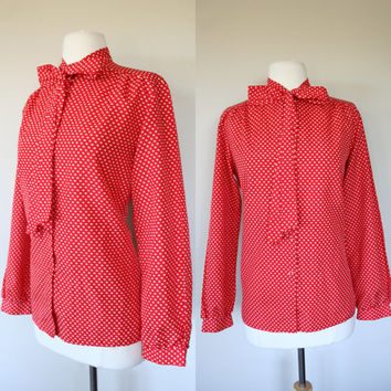 1980's polka dot blouse, size 10, large, red secretary blouse, ascot, big bow, button up top, long sleeves, office, white polka dots.