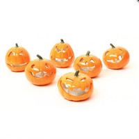 Set Of Six Pumpkin Tea Light Holders