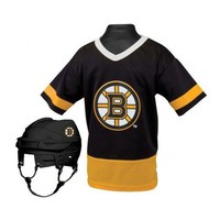 Boston Bruins Hockey Helmet and Jersey Top Set