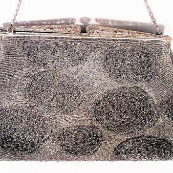 Vintage Silver Beaded Evening Bag, Silver and gold tone filigree clasp and chain