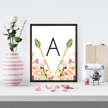 Nursery Initial Monogram Printable, Nursery Nature Print, Arrow Print, Tribal Arrow Print, Floral Print, Flower Print, Spring Printable,