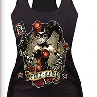 "Womens ""Harley Quinn"" Shiny Tank Top with Razor Back (Wild Card)"
