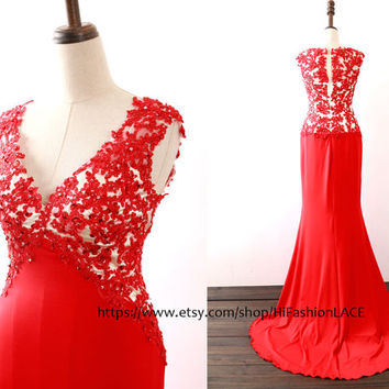 Evening Dress, Red Prom Dress, Mermaid V Neck Jersey Red Long Prom Gown, Red Formal Gown with Sweep Train, Wedding Party Dress