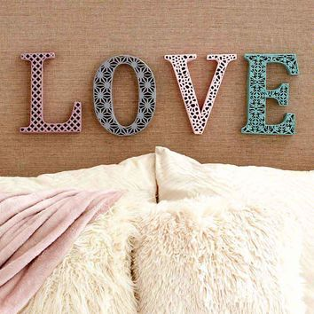 """Metal Lace Look Wall Hanging Love Home or Faith Die Cut 10"""" Sculpture Art Sign Home Decor"""