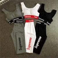 Supreme Fashion Sport Gym Yoga Vest Pants Set Two-Piece Sportswear