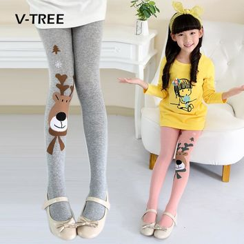 V-TREE Baby Tights For Girls Elastic Girls Tights Christmas Clothing Girls Stockings Child Pantyhose Autumn Winter 2-9 Year