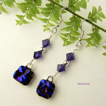 Midnight Secrets Deep Cobalt Blue Textured Dichroic Fused Glass Long Dangle Earrings Violet Swarovsky Crystals Sterling Silver by Umeboshi