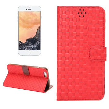Hight Quality Red Grid Leather Card Hold Wallet creative cases Cover for iPhone 5S 6 6S Plus Samsung Galaxy S6