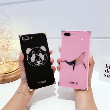 Luxury Animals Panda Case For iphone 7 Case For iphone7 6 6S PLus whale Cases