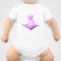 Custom One Piece Baby Body Suit Funky Catsterz Magic Carpet Kitty Unicorn