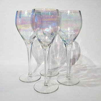 Iridescent Wine Glasses, Set of 4 Iridescent Crystal Wine Glasses