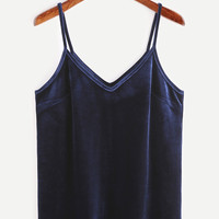 Navy Velvet Cami Top | MakeMeChic.COM